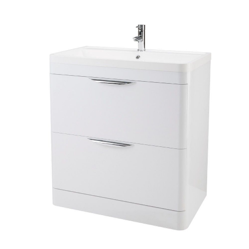 Parade 800mm White Gloss Floor Standing Vanity Unit & Basin